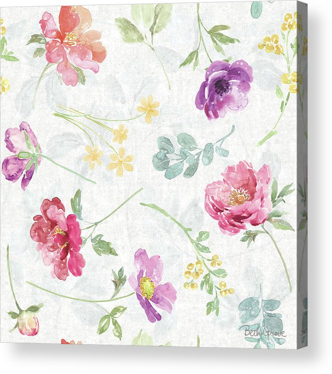 Blue Acrylic Print featuring the painting Springtime Bloom Pattern I by Beth Grove