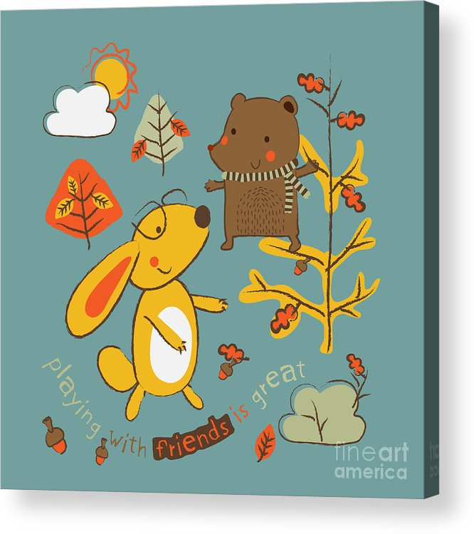 Gift Acrylic Print featuring the digital art Two Little Animals Are Playing In The by Graphic7