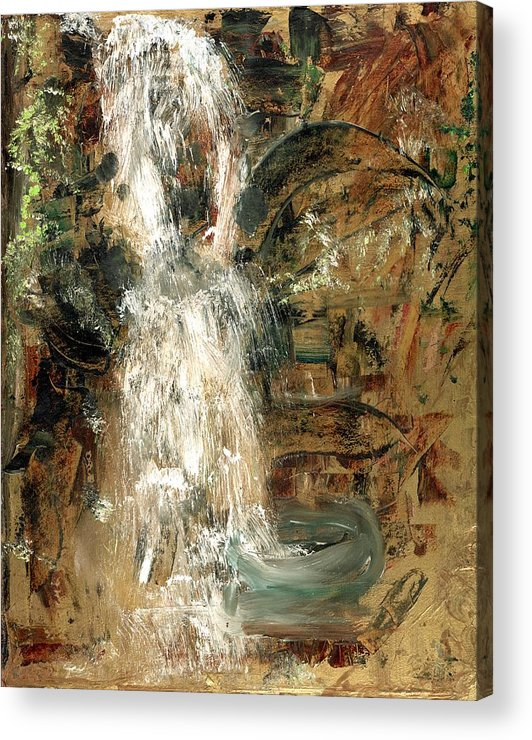 Waterfall Acrylic Print featuring the painting Oriental Waterfall by Michela Akers