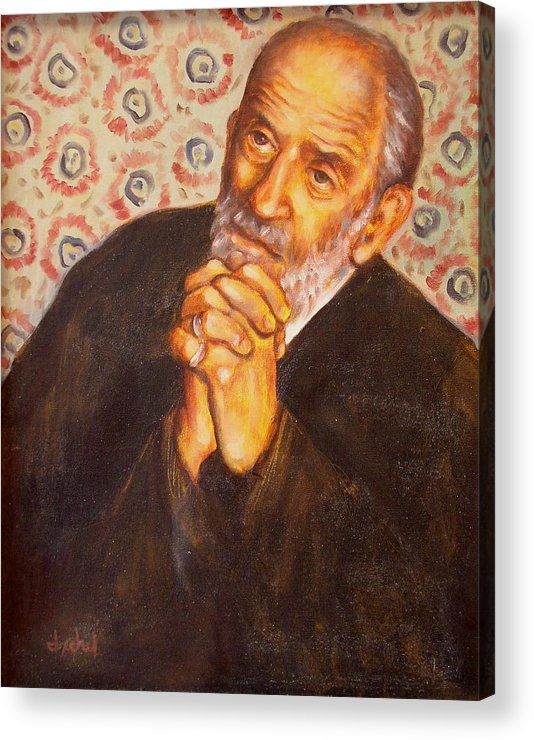 Philosopher Acrylic Print featuring the painting The Philosopher by Ixchel Amor