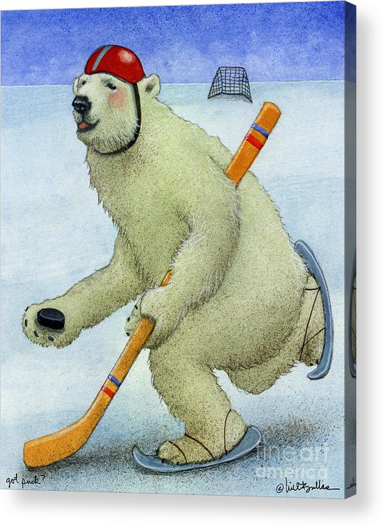 Will Bullas Acrylic Print featuring the painting Got Puck... by Will Bullas