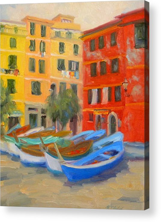 Italy Acrylic Print featuring the painting Vernazza Fleet by Bunny Oliver