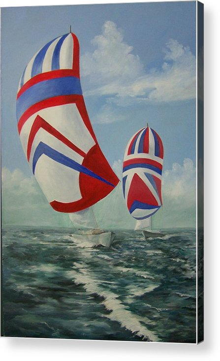 Sailing Ships Acrylic Print featuring the painting Flying The Colors by Wanda Dansereau