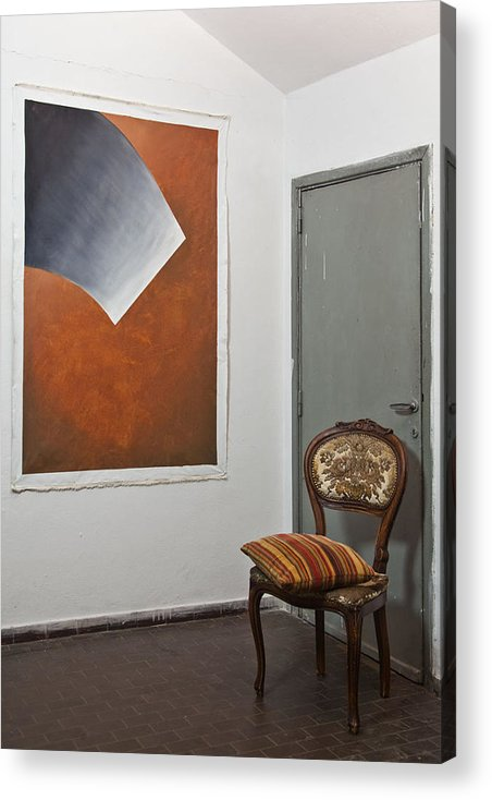 Shading Of Life On Brown Acrylic Print featuring the painting Artwork In The Space by Lilian Istrati