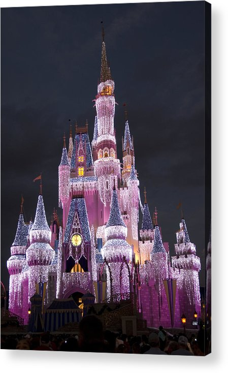 Walt Disney World Acrylic Print featuring the photograph Glittering Cinderella Castle by Charles Ridgway