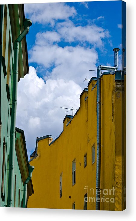 Yellow Acrylic Print featuring the photograph Has Opened Eyes And Has Looked In The City Sky... by Vadim Grabbe