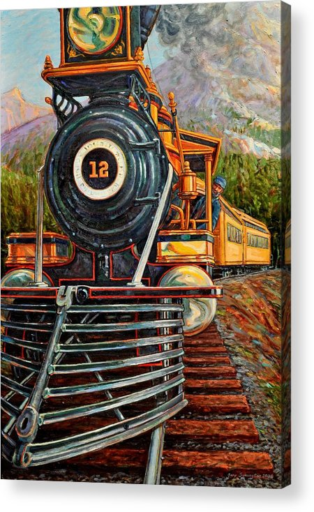 Train Acrylic Print featuring the painting No.12 In The Mountains by Gary Symington