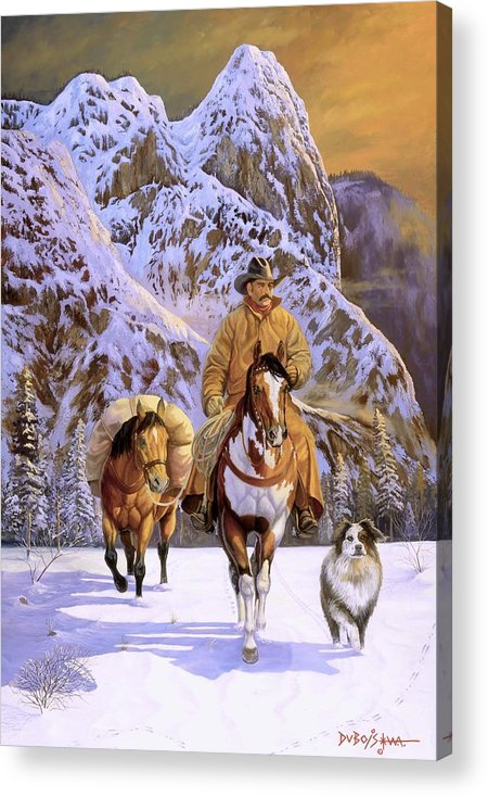 Cowboy Acrylic Print featuring the painting Pardners by Howard Dubois