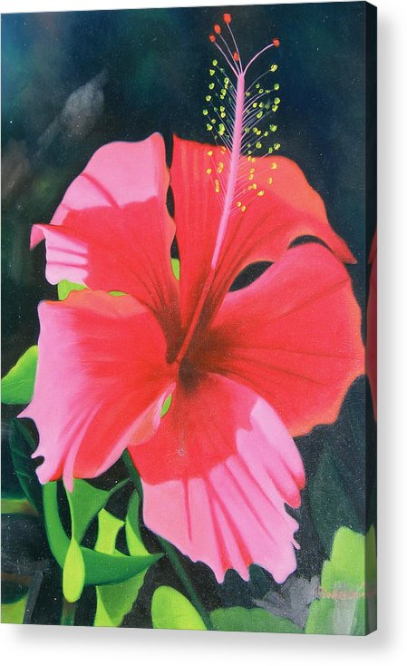 Flower Close Up Acrylic Print featuring the painting Up Close And Personal Too by Imagine Art Works Studio