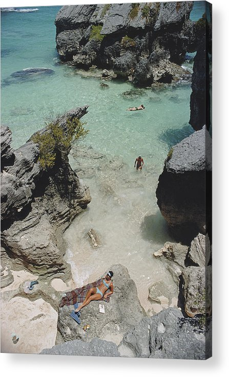 People Acrylic Print featuring the photograph On The Beach In Bermuda by Slim Aarons