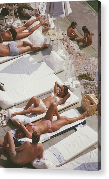 Recreational Pursuit Acrylic Print featuring the photograph Sunbathers At Eden Roc by Slim Aarons