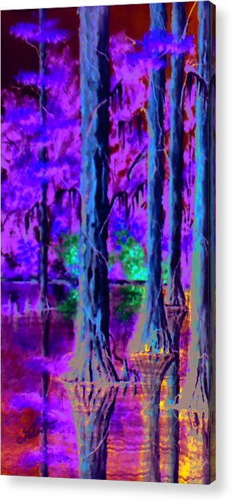 Landscape Acrylic Print featuring the painting Cypress Trees by Dennis Vebert
