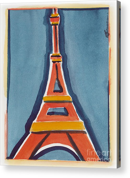 Effel Tower Acrylic Print featuring the painting Eiffel Tower Orange Blue by Robyn Saunders