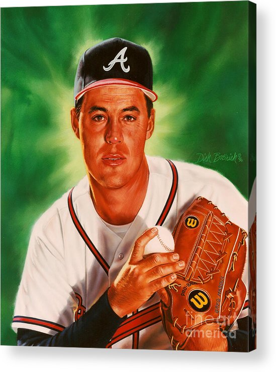 Sports Acrylic Print featuring the painting Greg Maddux by Dick Bobnick