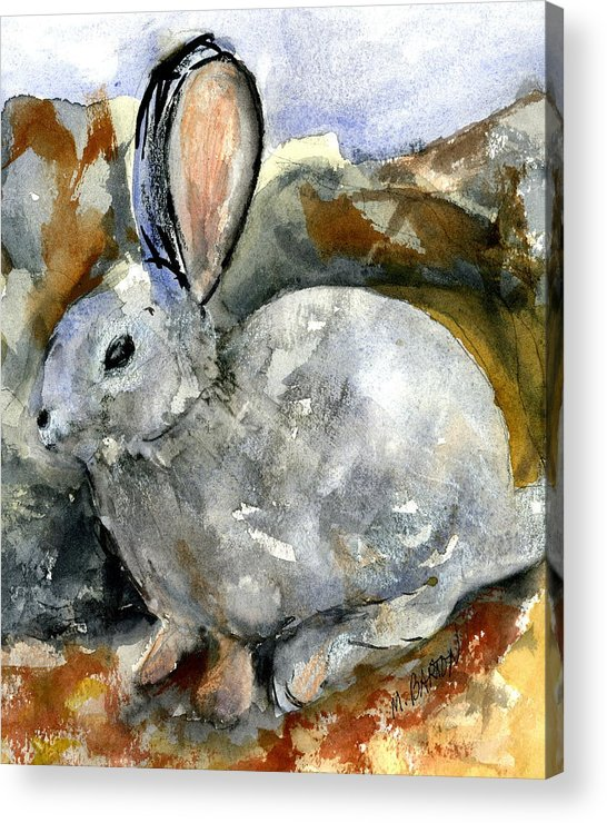 Rabbit Acrylic Print featuring the painting Cottontail In Camouflage by Marilyn Barton