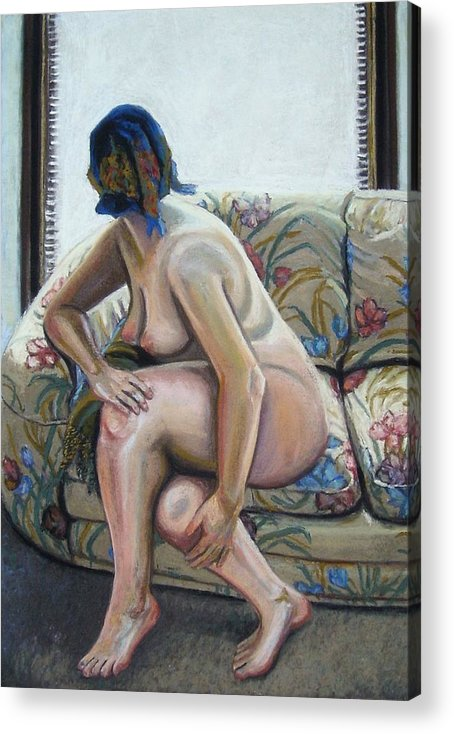 Painting Female Figure Nude Interior Pastel Paper Acrylic Print featuring the painting Arrival by Cameron Hampton PSA