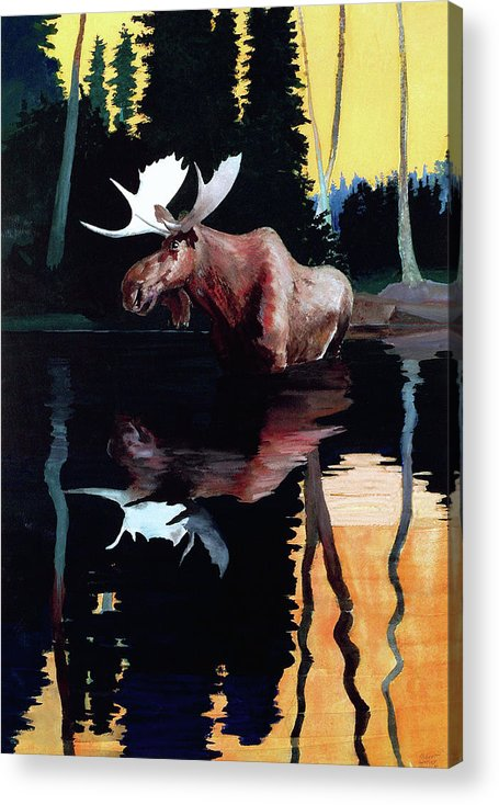 Moose Acrylic Print featuring the painting Bull Moose by Robert Wesley Amick