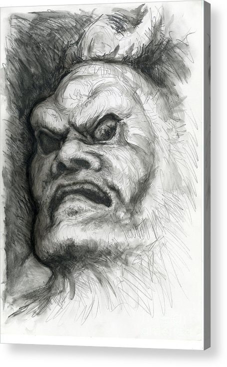 Fantasy Acrylic Print featuring the drawing Japanese Demon by Tim Thorpe