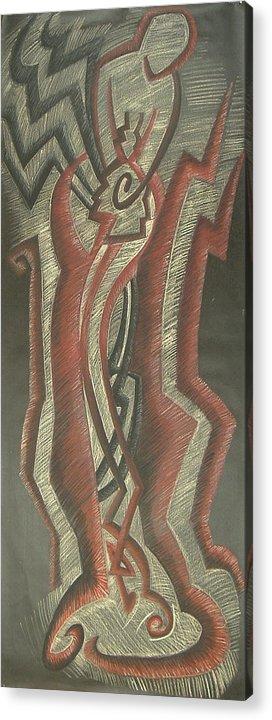 Donald+burroughs Acrylic Print featuring the drawing Inner Turmoil Original by Donald Burroughs
