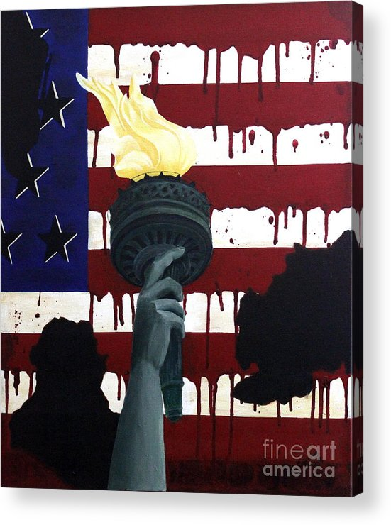 Military Painting Acrylic Print featuring the painting Bleeding For Freedom by D L Gerring