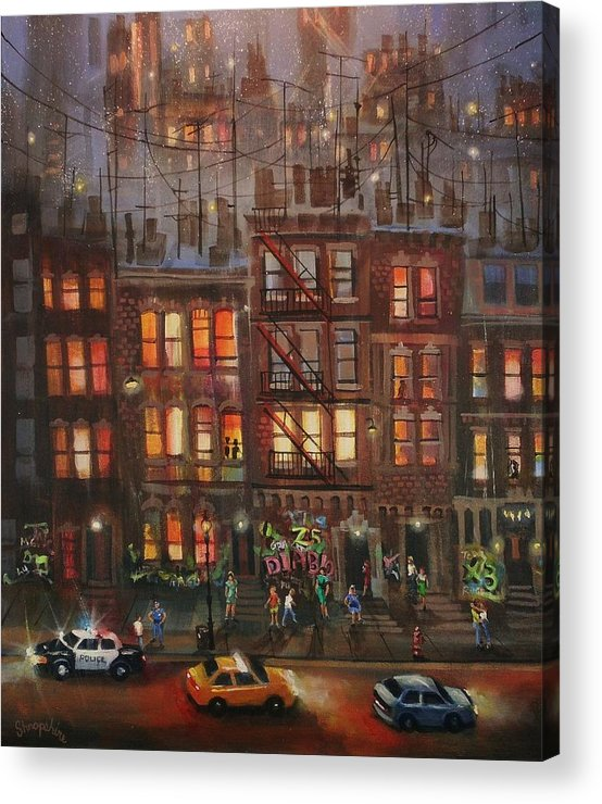 Brownstone Acrylic Print featuring the painting Street Life by Tom Shropshire