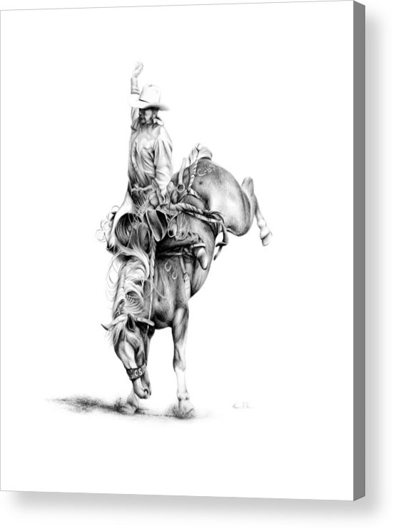 Rodeo Scene Acrylic Print featuring the drawing A Good Ride by Karen Elkan