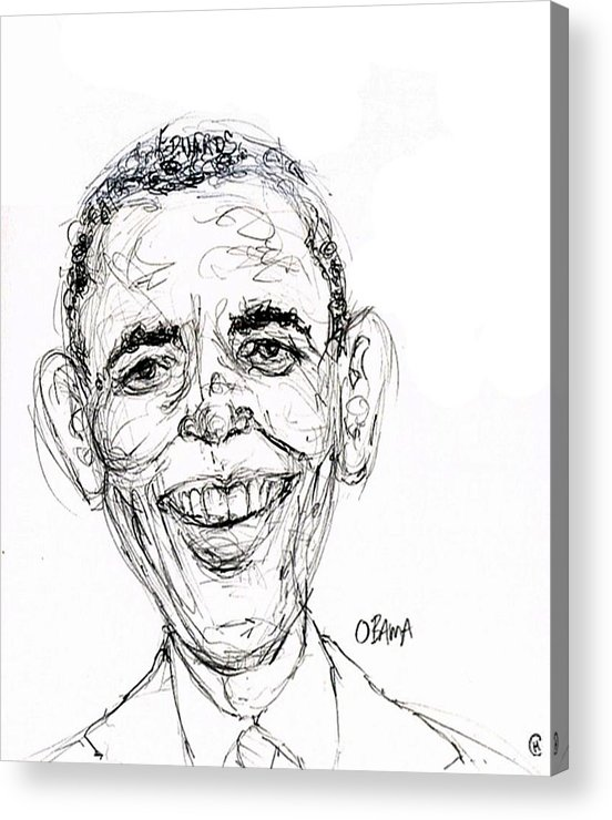 Caricature Satire Political Cartoon Politics Acrylic Print featuring the drawing Barack Obama by Cameron Hampton PSA