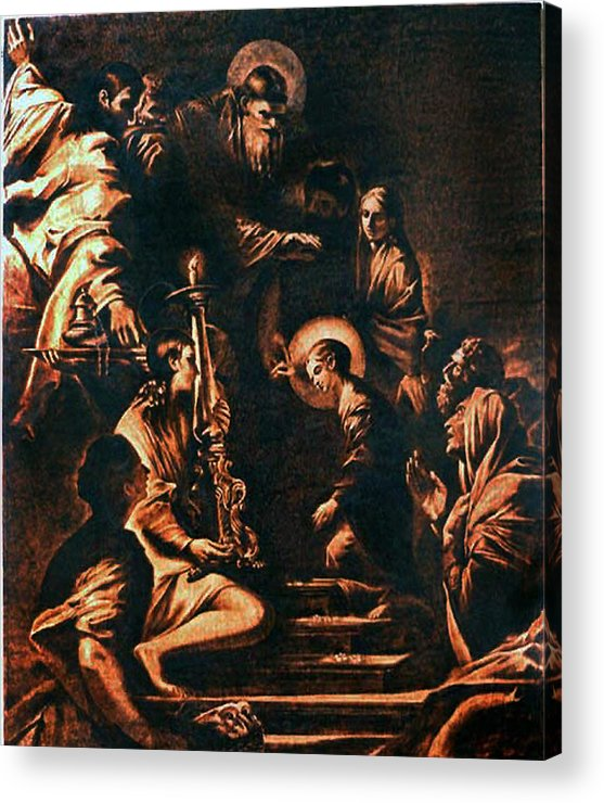Dino Muradian Acrylic Print featuring the pyrography The Virgin Entering The Temple by Dino Muradian