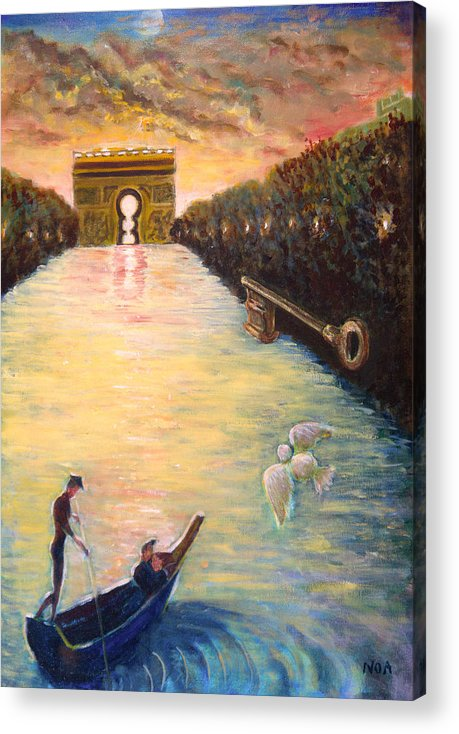 Lovers Acrylic Print featuring the painting Musing On The Champs-elysees by Aymeric NOA