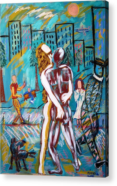 Mixed Media Acrylic Print featuring the painting Right Here Right Now by Albert Almondia