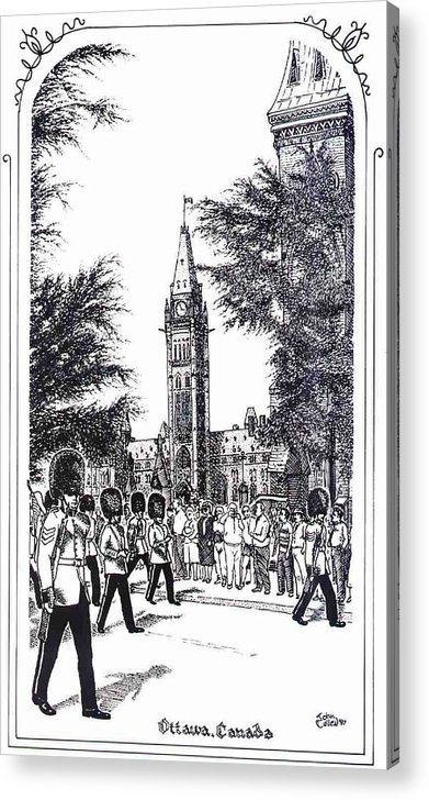 Cityscape Acrylic Print featuring the mixed media Changing Of The Guard Ottawa 1995 by John Cullen