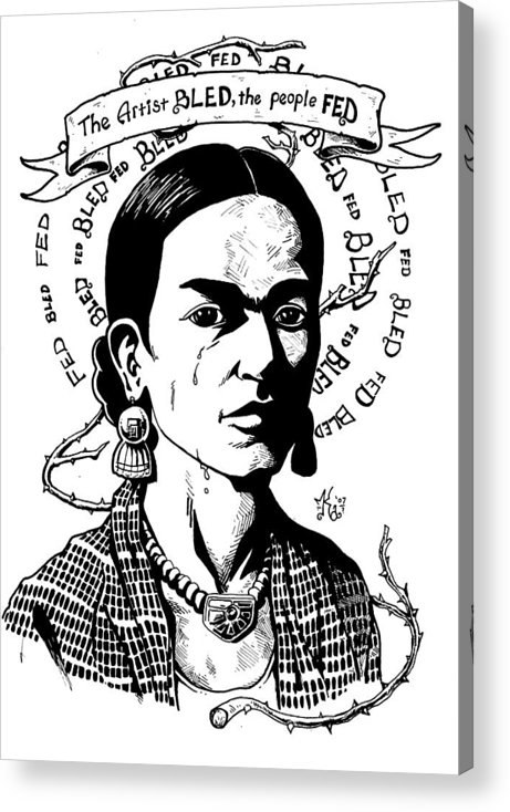 Frida Acrylic Print featuring the drawing Frida by Marcus Anderson