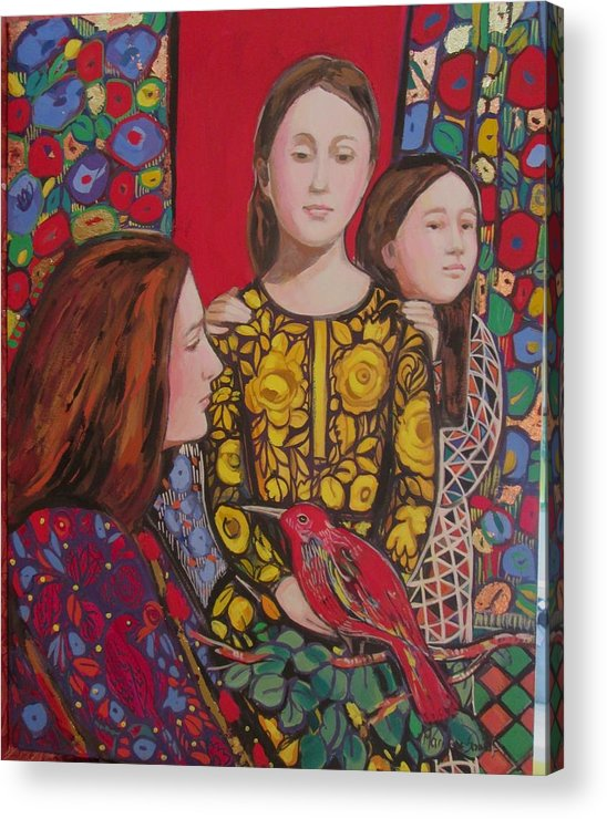 Thanksgiving Acrylic Print featuring the painting Red Thanksgiving with family by Marilene Sawaf