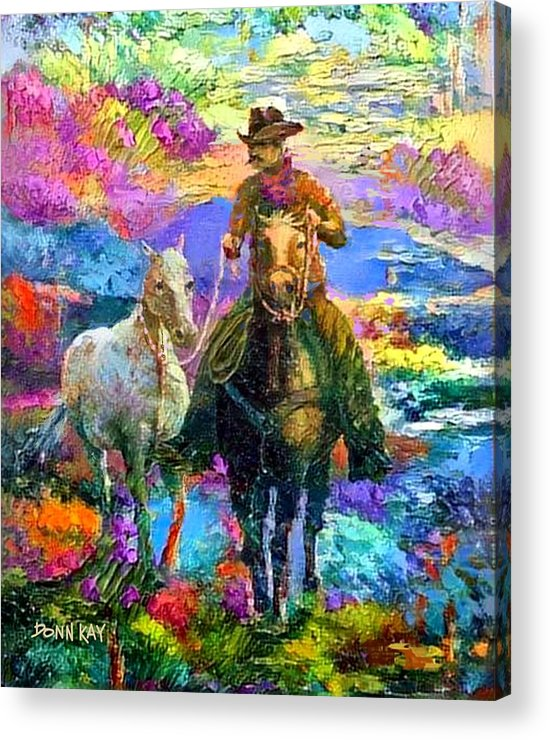 Horses Acrylic Print featuring the painting Leading The New Mare by Donn Kay