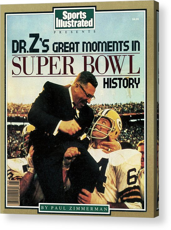 1980-1989 Acrylic Print featuring the photograph Dr. Zs Great Moments In Super Bowl History By Paul Zimmerman Sports Illustrated Cover by Sports Illustrated