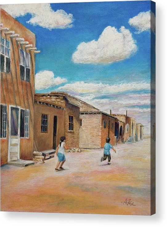 Pueblo Acrylic Print featuring the painting Pueblo Playground by Arthur Fix
