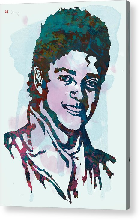 Michael Jackson Stylised Pop Art Drawing Sketch Poster. Pop Art Acrylic Print featuring the drawing Michael Jackson stylised pop art poster by Kim Wang