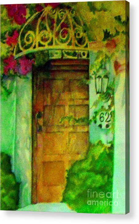 Watercolor Acrylic Print featuring the painting Garden Door by Patricia Halstead