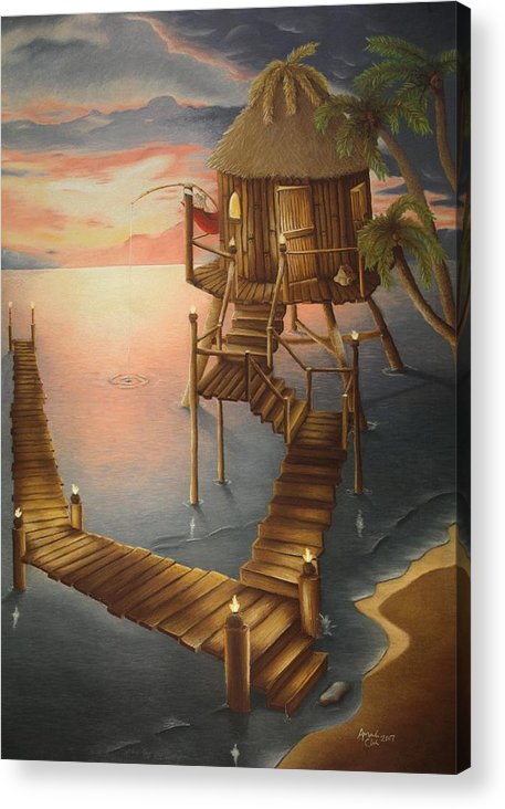 Tiki Acrylic Print featuring the pastel Tortugan Riviera by Amanda Clark