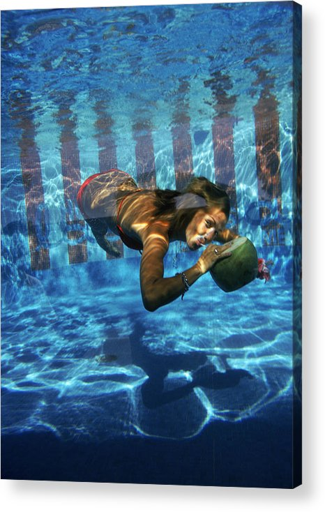 Underwater Acrylic Print featuring the photograph Underwater Drink by Slim Aarons