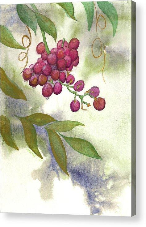 Rick Huotari Acrylic Print featuring the painting Grapes Divine by Rick Huotari