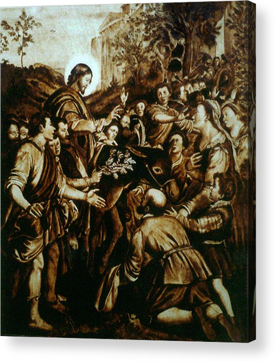 Dino Muradian Acrylic Print featuring the pyrography Entering Into Jerusalem by Dino Muradian