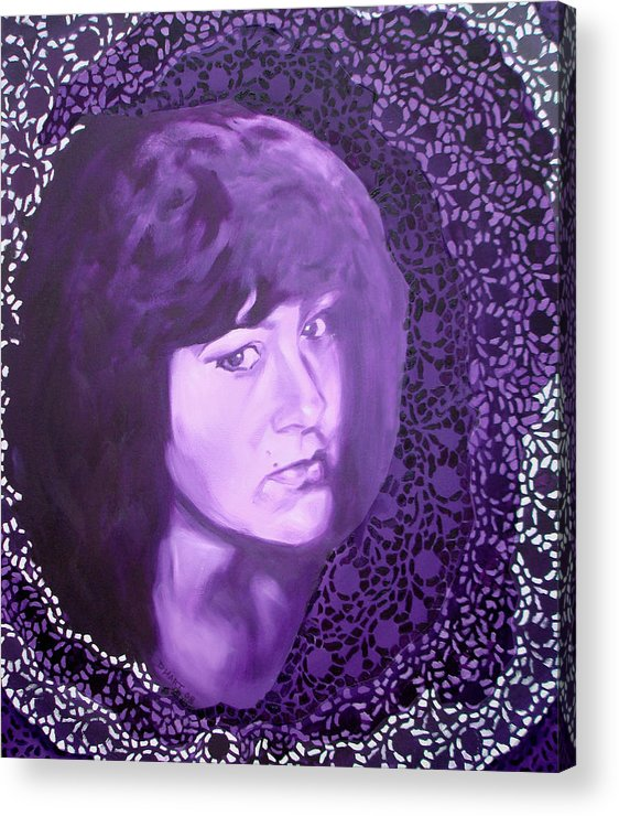 Portrait Acrylic Print featuring the painting Purple And Lace by Davinia Hart