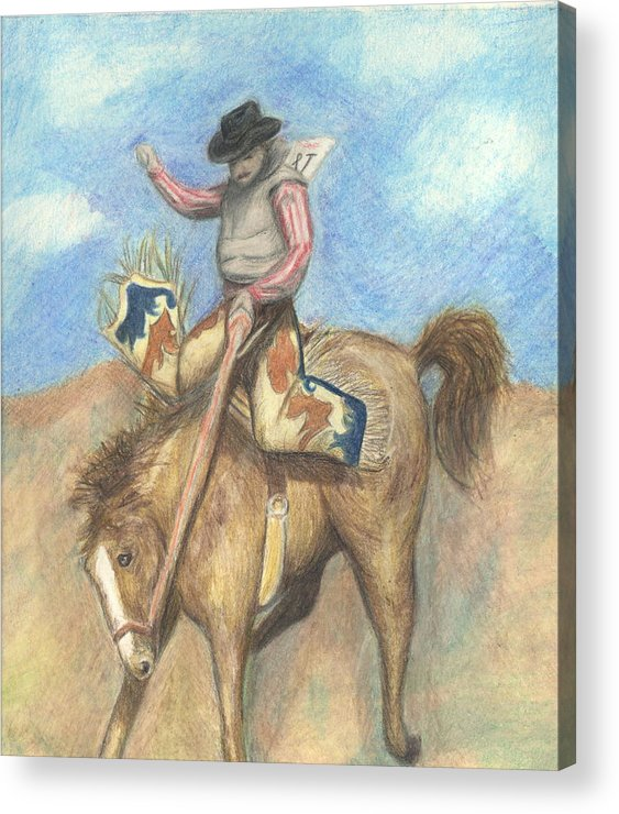 Rodeo Acrylic Print featuring the drawing Rough Rider by Jennifer Skalecke