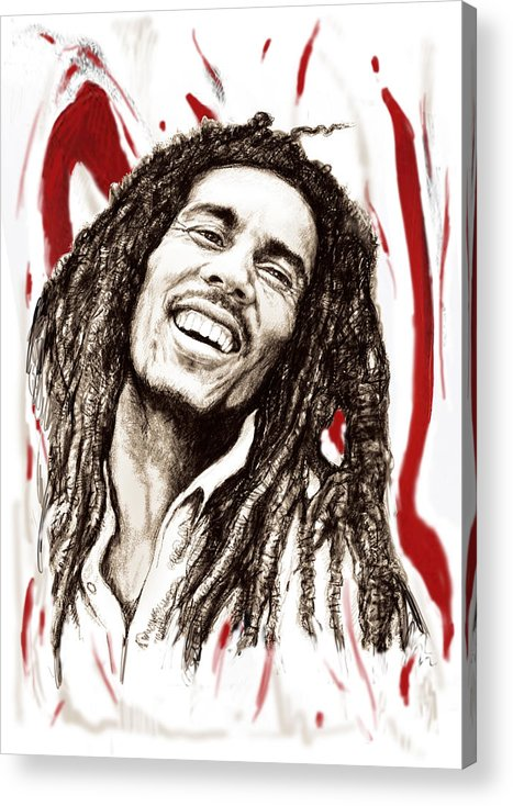 0182d6debd Bob Marley Colour Drawing Art Poster - Pop Art Acrylic Print featuring the  painting Bob Marley