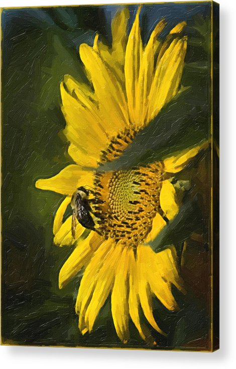 Flower Acrylic Print featuring the painting Busy Bee by Wynn Davis-Shanks