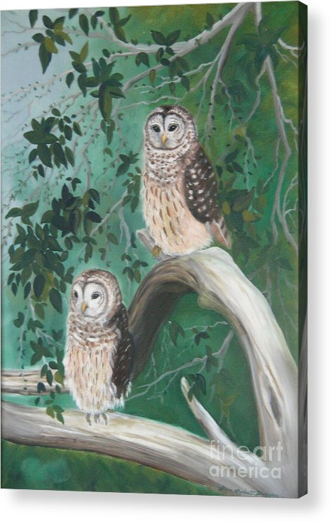 Owls Acrylic Print featuring the painting Night Owls by Lora Duguay