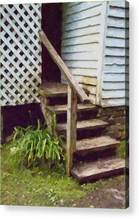 Nostalgia Acrylic Print featuring the painting The Back Steps by Wynn Davis-Shanks