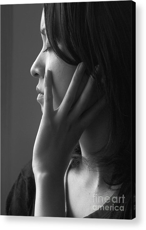 Woman Girl Candid Monochrome Hand Acrylic Print featuring the photograph Ferry Girl by Sheila Smart Fine Art Photography