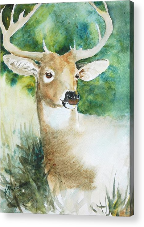Deer Acrylic Print featuring the painting Forest Spirit by Christie Michelsen
